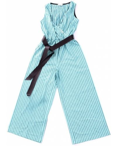 Niebieski kombinezon w paski z paskiem Liu Jo