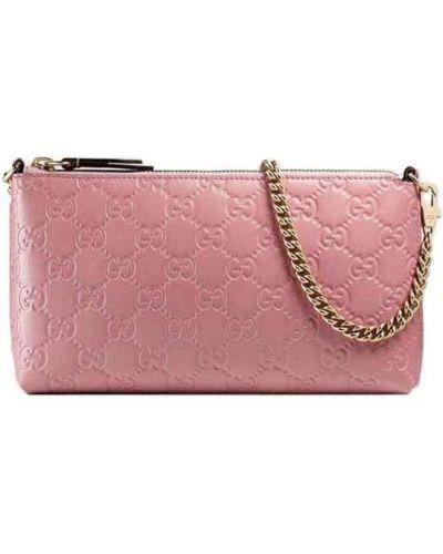 Różowy portfel skórzany z paskiem Gucci