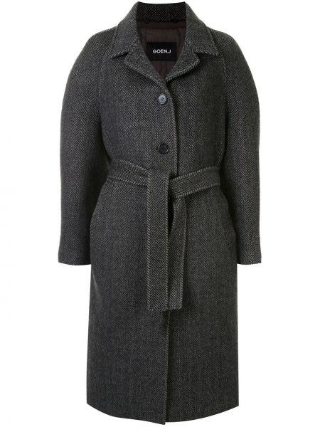 Черное однобортное шерстяное пальто на пуговицах Goen.j