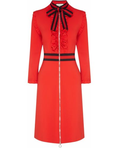 Платье макси в полоску на молнии Gucci