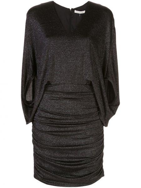 Черное приталенное плиссированное платье на молнии Halston Heritage