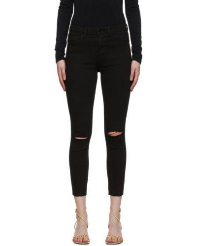 Зауженные черные укороченные джинсы стрейч Frame