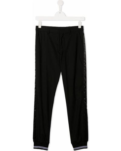 Шерстяные черные брюки с поясом в рубчик Neil Barrett Kids