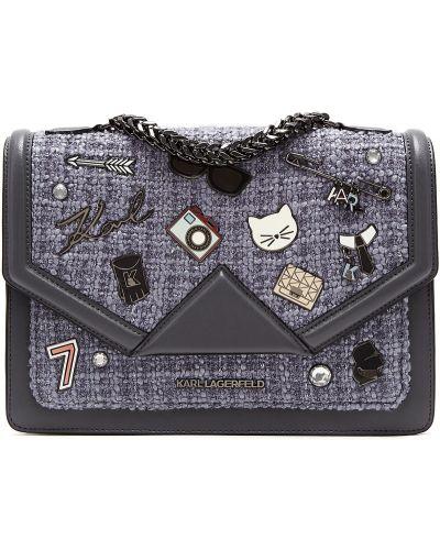 Кожаная сумка серая на цепочке Karl Lagerfeld