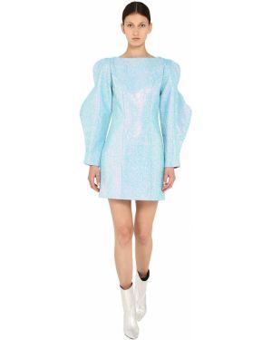 Ażurowa niebieska sukienka mini asymetryczna Annakiki