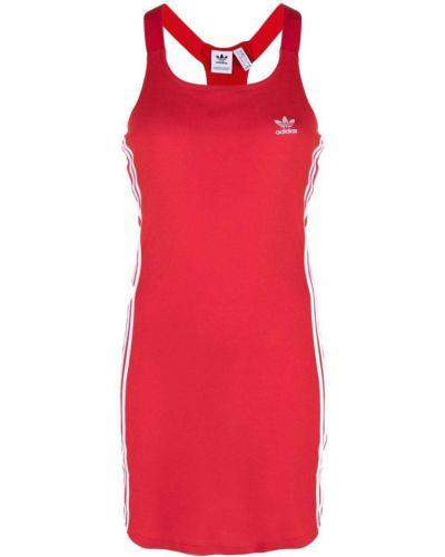 Красное платье с вышивкой без рукавов Adidas