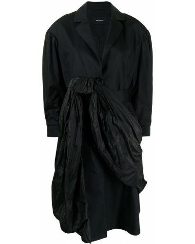 Czarny długi płaszcz bawełniany Simone Rocha