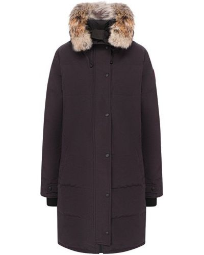Куртка с капюшоном с мехом пуховая Canada Goose