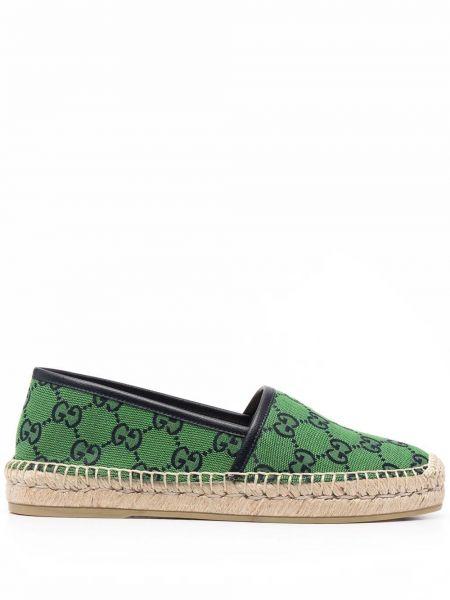 Zielone espadryle skorzane plaskie Gucci