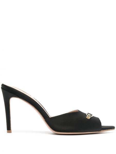 Czarne sandały skorzane klamry Murmur