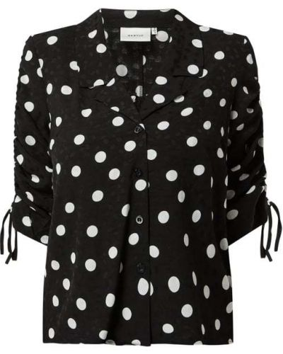 Czarna bluzka z wiskozy w grochy Gestuz