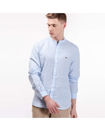 Рубашка в клетку льняная Lacoste