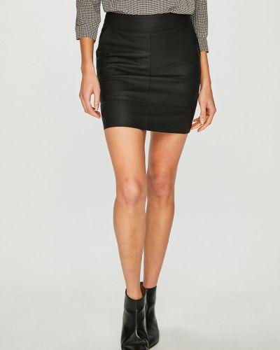 Кожаная юбка мини с завышенной талией Only
