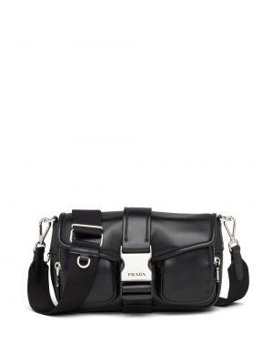 Czarna torebka skórzana klamry Prada