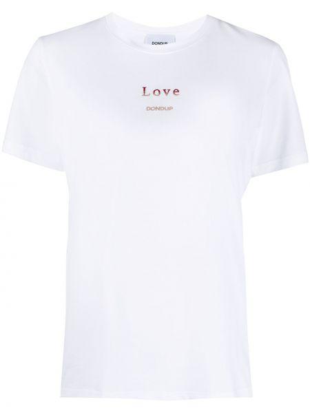 Хлопковая с рукавами белая футболка Dondup
