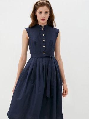 Синее платье рубашка Lusio