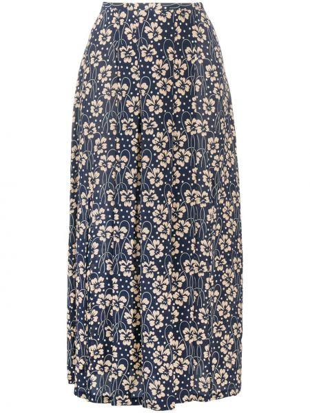 Синяя юбка миди на молнии с разрезом Rixo