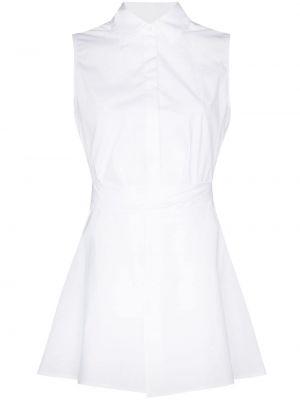 Белая расклешенная классическая рубашка с воротником без рукавов Rosetta Getty