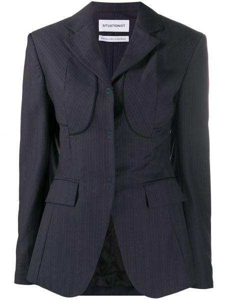 Приталенная тонкая синяя куртка с воротником Situationist