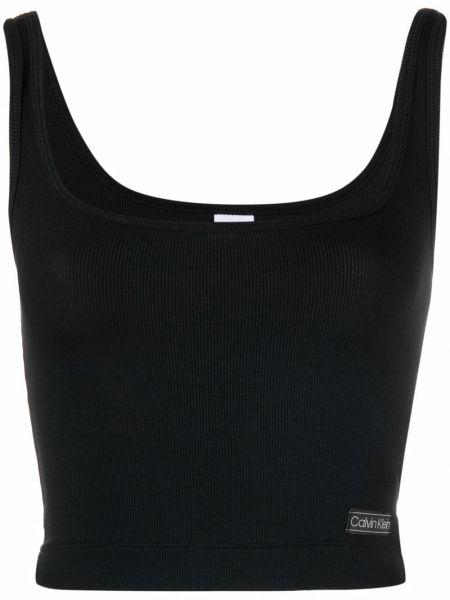 Черный топ без рукавов с заплатками Calvin Klein