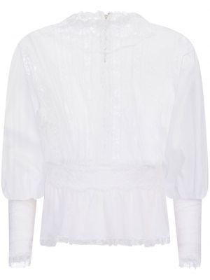 Белая блузка прозрачная с воротником Dolce & Gabbana