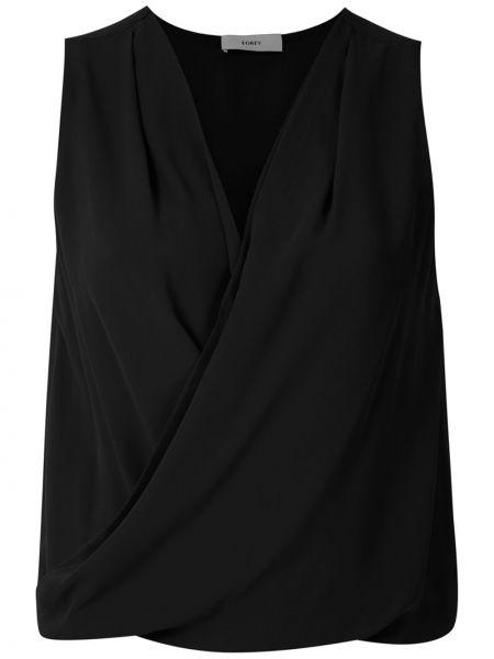 Черная блузка без рукавов с запахом с V-образным вырезом с драпировкой Egrey
