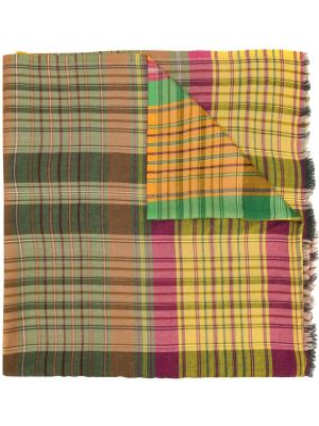Желтый шарф квадратный с бахромой Etro