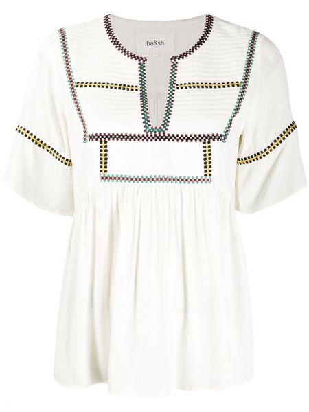 Блузка с вышивкой с вырезом из вискозы круглая Ba&sh