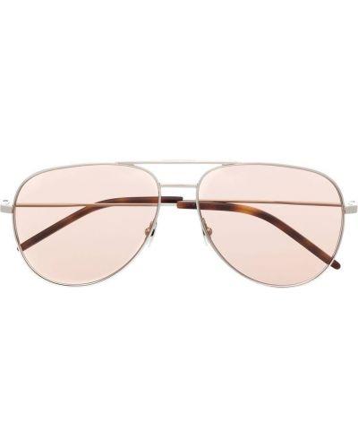 Różowe okulary srebrne Saint Laurent Eyewear