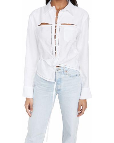 Белая рубашка с длинными рукавами с карманами Jacquemus