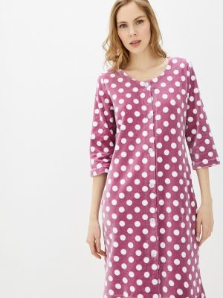Розовый флисовый домашний халат Tenerezza