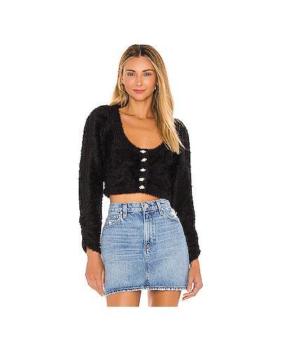 Черный пушистый акриловый свитер с аппликациями For Love & Lemons