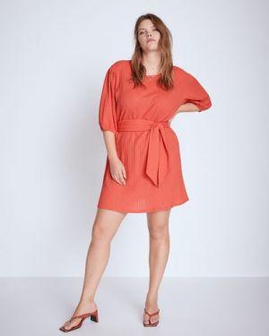 Платье мини коралловый с поясом Mango