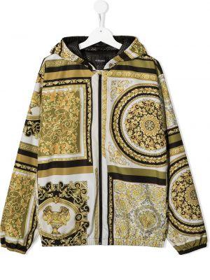 Желтая куртка с капюшоном на молнии Young Versace