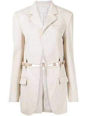 Однобортный белый удлиненный пиджак с карманами Dion Lee