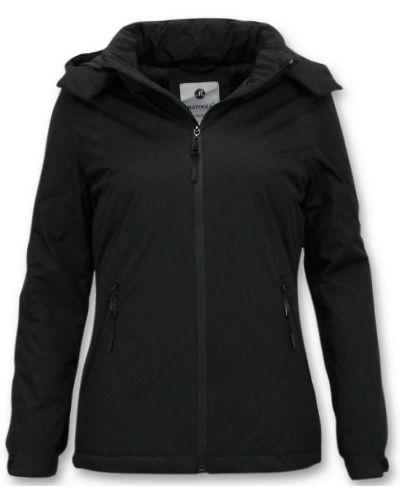 Czarna krótka kurtka z kapturem Beluomo