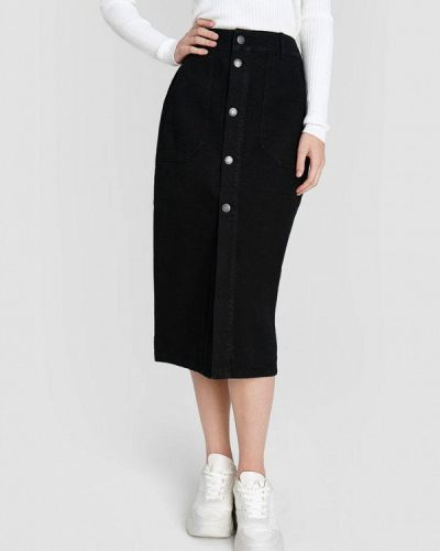 Прямая черная юбка карандаш O'stin