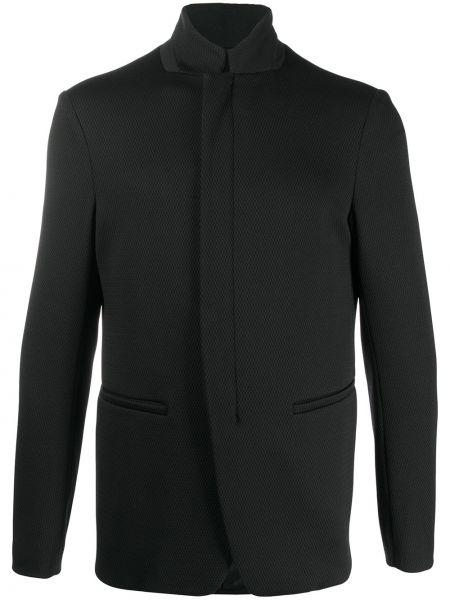 Черный прямой пиджак с воротником-стойка на молнии Emporio Armani