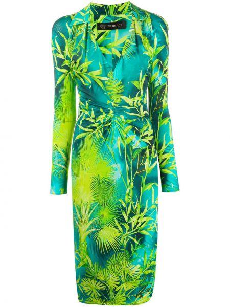 Платье макси с V-образным вырезом с рукавами Versace