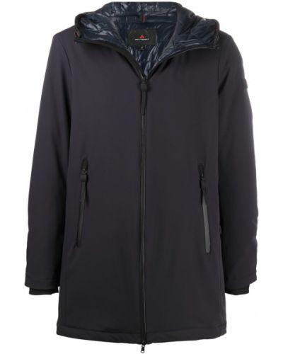 Z rękawami niebieski płaszcz przeciwdeszczowy z kieszeniami od płaszcza przeciwdeszczowego Peuterey