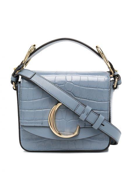 Niebieski torba kosmetyczna z prawdziwej skóry z kieszeniami wytłoczony Chloe