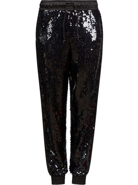 Черные брюки с пайетками Versace Jeans Couture
