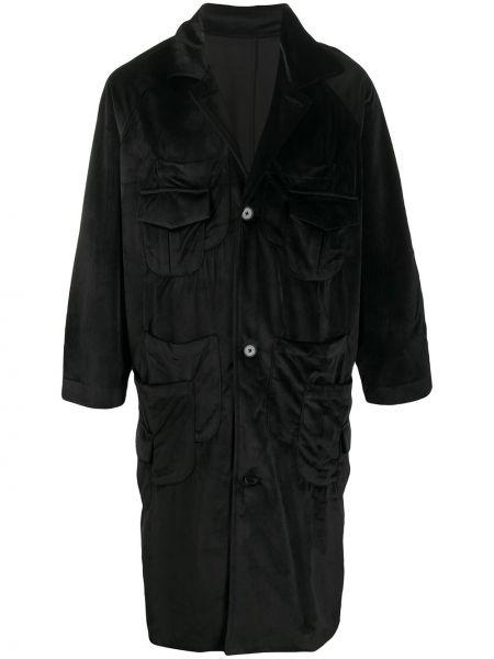 Czarny płaszcz z aksamitu z długimi rękawami Goodfight