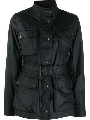 Черное однобортное длинное пальто с накладными карманами из вискозы Belstaff