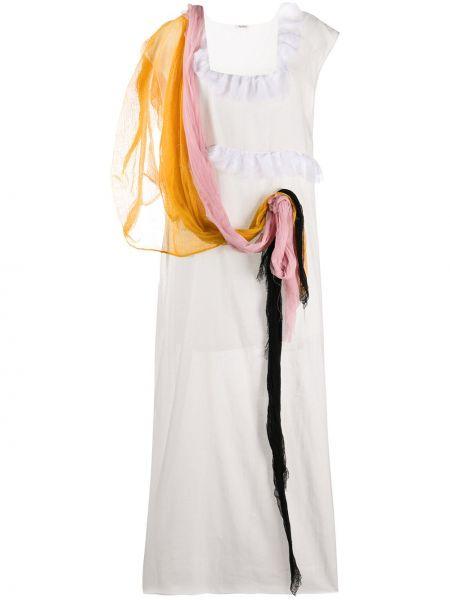 Драповое приталенное платье мини прозрачное с вырезом Miu Miu