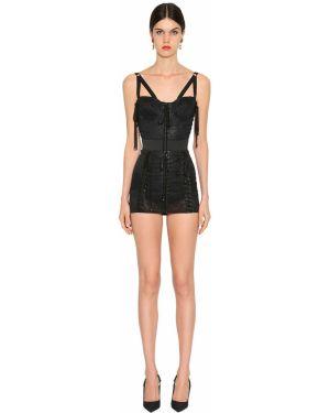 Платье с поясом на бретелях из парчи Dolce & Gabbana