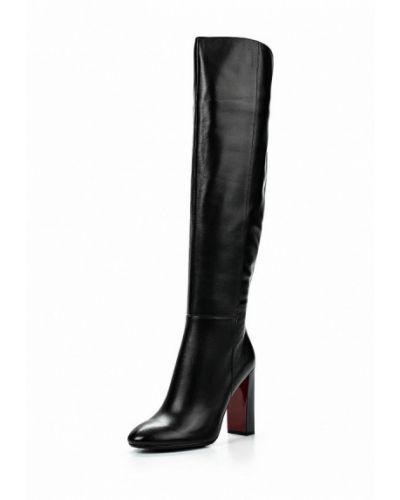 Ботфорты на каблуке кожаные черные Paolo Conte