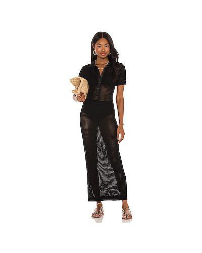 Открытое черное платье миди в полоску Solid & Striped