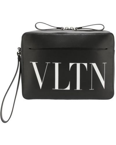 Барсетка кожаная с логотипом Valentino