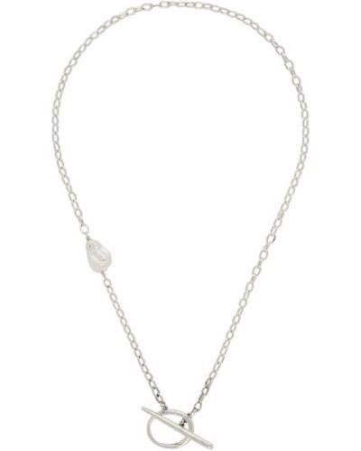 Naszyjnik łańcuch perły srebrny Faris